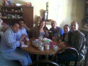 Coffee time at INESIN, Rick Block on the far right