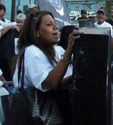 Araceli, Jose Antonio's mother, marches in memory of her son. Photo by Sandra Kienitz.