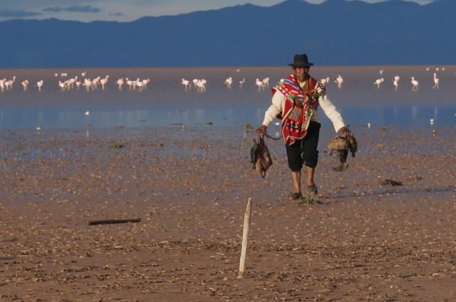 Valerio, one of the community leaders from Untavi walking back from the lake with dead birds in his hands. (Photo credit L. Vermeersch)